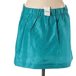 J Crew Blue Turquoise Silk Skirt Womens Size 12